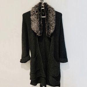 XOXO l Faux Fur Knitted Cardigan